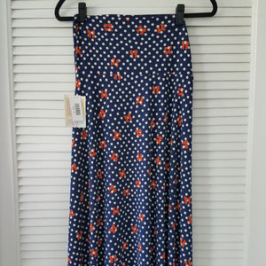 LuLaRoe Dresses - Maxi Dresses-Navy/Off White/Orange